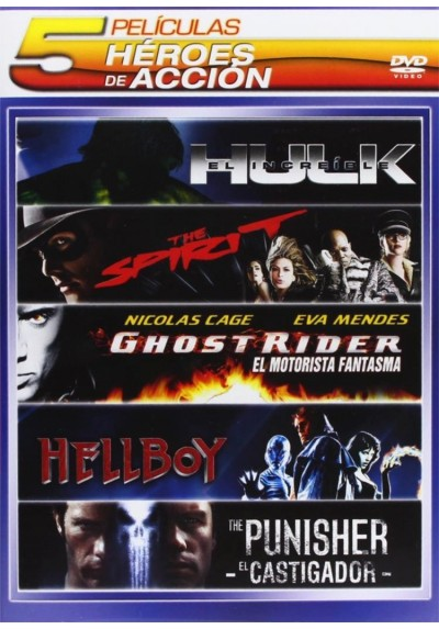 Pack Hereos de Accion: El Increíble Hulk / The Spirit / Ghost Rider (El Motorista Fantasma) / Hellboy / The Punisher (El Castiga