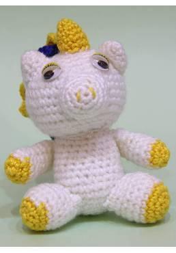 Unicornio Blanco y Amarillo con Tirabuzones de Colores (Amigurumis)