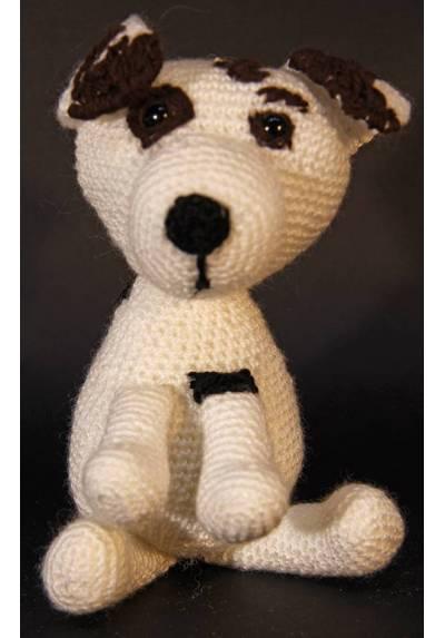Perrito Blanco con Manchas Marrones (Amigurumis)