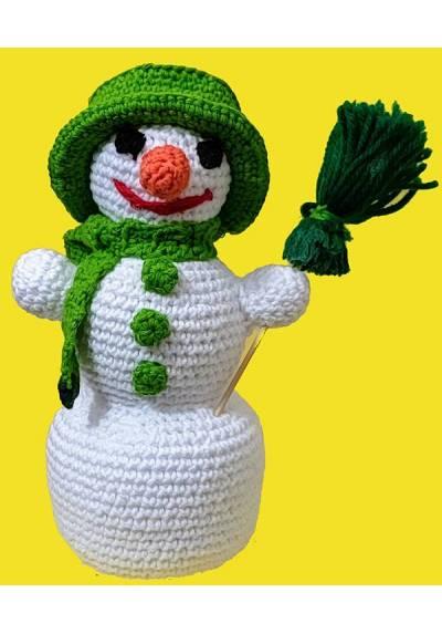 Muñeco de Nieve con Escoba Verde (Amigurumis) Especial Navidad