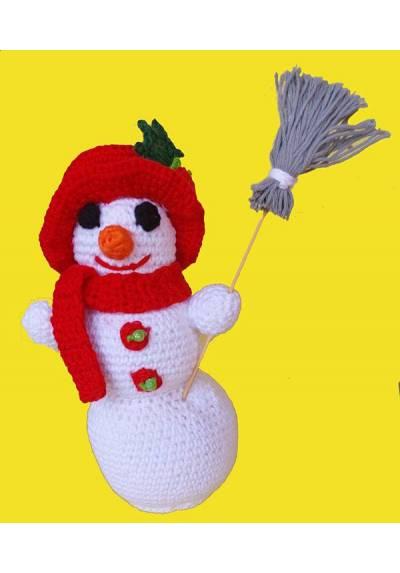 Muñeco de Nieve con Escoba Gris (Amigurumis) Especial Navidad