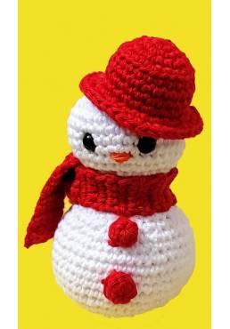 Muñeco de Nieve con Fufanda Roja (Amigurumis) Especial Navidad