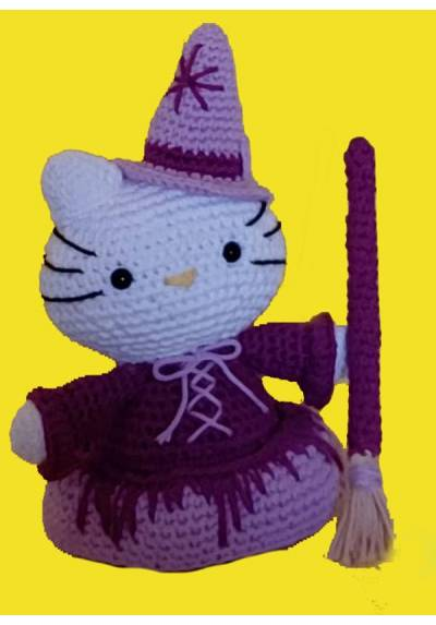 Hello Kitty Brujita Morada (Amigurumis)