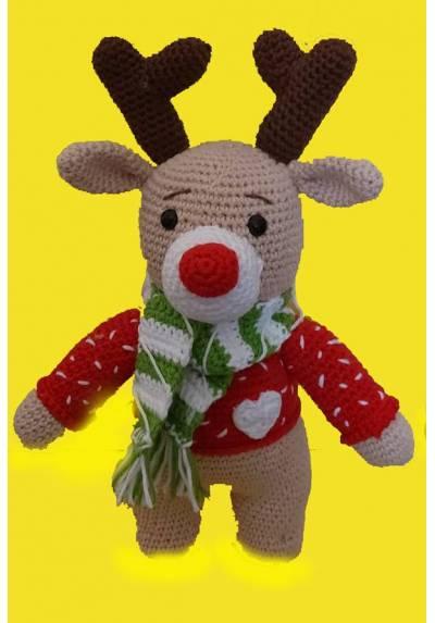 Reno Navideño con Jersey Rojo (Amigurumis) Especial Navidad