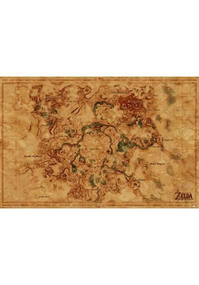 Poster Mapa Mundial de Aliento del Hirulo Salvaje - La Leyenda de Zelda (The Legend Of Zenda of the Wild) (POSTER 91,5 x 61)