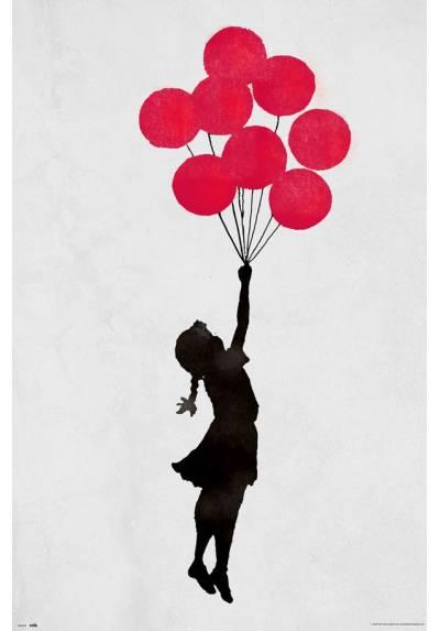 Poster Niña Flotando con Globos (Brandalised Gilr Floating) (POSTER 61 x 91,5)