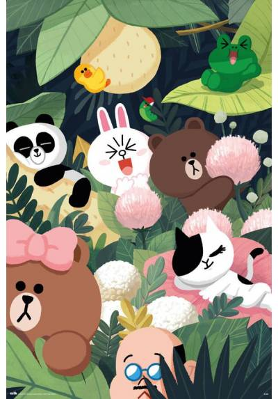 Poster Amigas de Linea - Selva (Line Friends - Jungle) (POSTER 61 x 91,5)