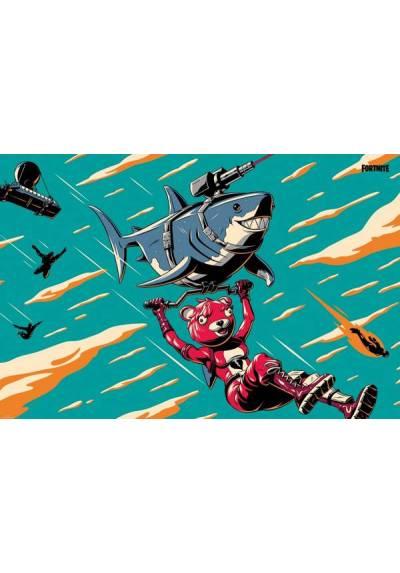 Poster Horizontal Fortnite: Tiburon Laser (Laser Shark)  (POSTER 91,5 x 61)