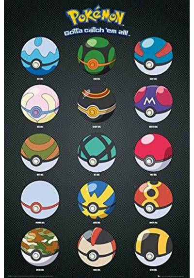 Poster Pokemon - Pokebolas (POSTER 61 x 91,5)