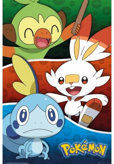 Poster Arrancadores de Pokemon Galar - Pokemon Galar Starters (POSTER 61 x 91,5)