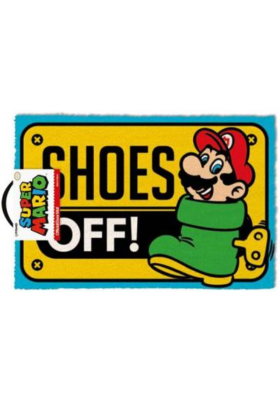Felpudo Super Mario - Shoes Off (Quitarse los zapatos) (40 X 60 X 2)