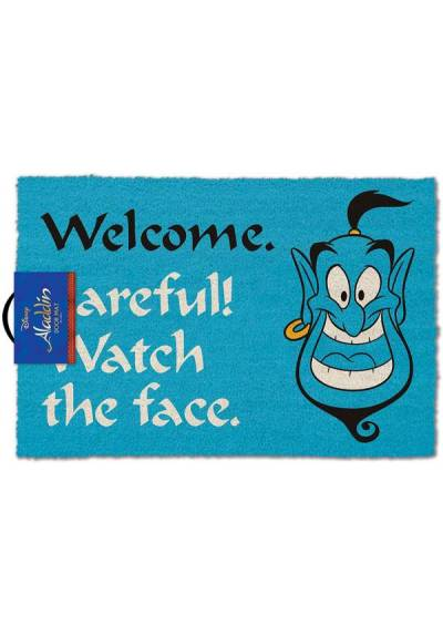 Felpudo Genio Aladin - Welcome Careful! Watch the face (Bienvenidos Cuidado! Mira la cara) (40 X 60 X 2)