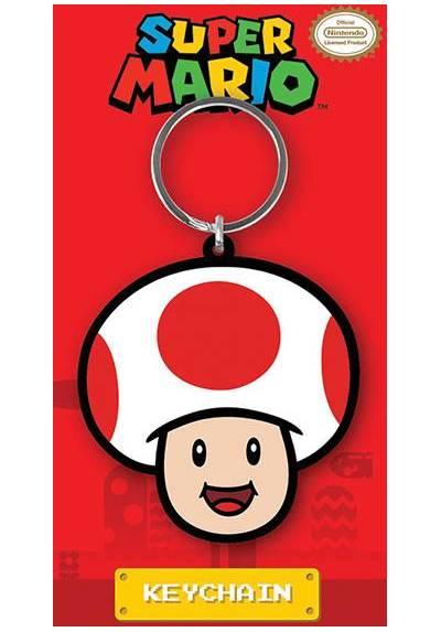 Llavero de Goma - Super Mario (Champiñon) (6 x 4.5 x 0.2)