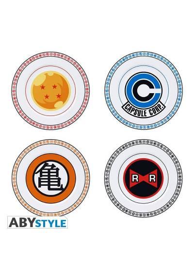 Set de 4 Platos Emblemas - Dragon Ball