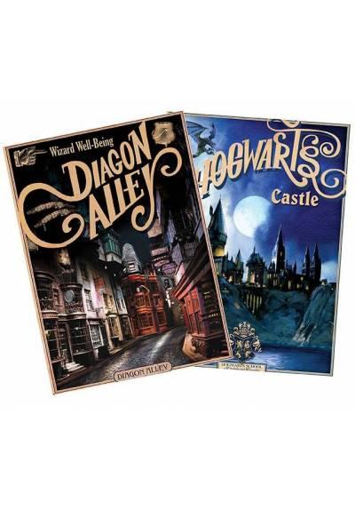 Set 2 Chibi Posters - Retro Hogwarts & Diagon - Harry Potter (POSTER 52x38)